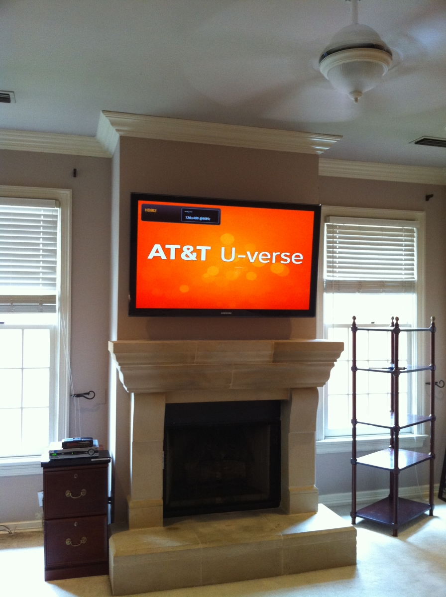 Photo Samsung Master TV mounted Over Fireplace Allen TX - TVs Over Fireplace Unisen Media LLC